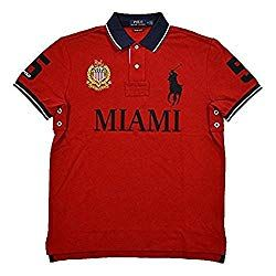 eed86ec0c45 Polo Ralph Lauren Mens Custom Slim Fit Mesh City Polo Shirt (Large, Red  Miami)