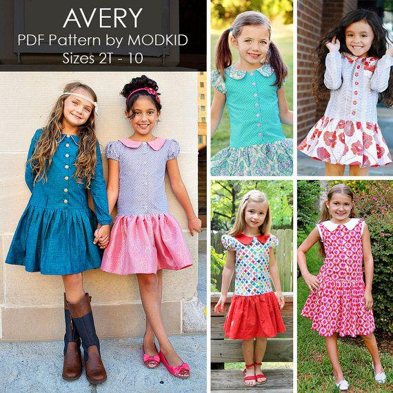 Avery Drop-Waist Dress PDF Downloadable Pattern by MODKID... sizes ...