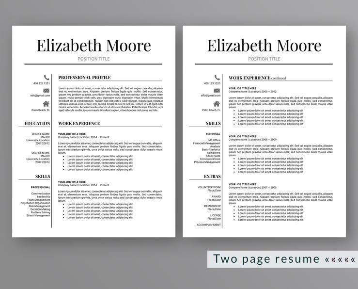 Professional Resume Template Elizabeth Moore Resume