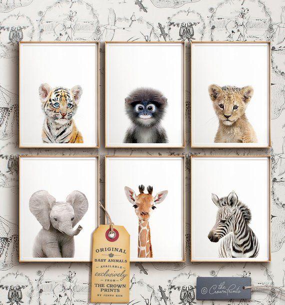 Safari nursery decor, PRINTABLE art, Safari animal prints, Nursery wall art, Jungle animals, Elephant art, Baby room, The Crown Prints Shop
