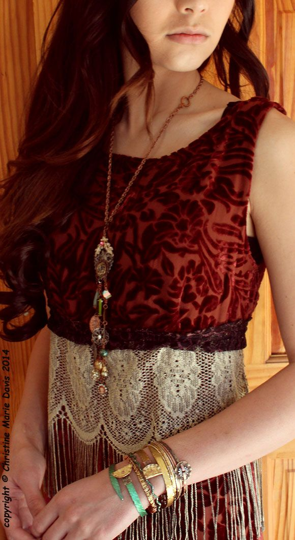 Smashing Jewelry!! by Christine Marie Davis and vintage dress