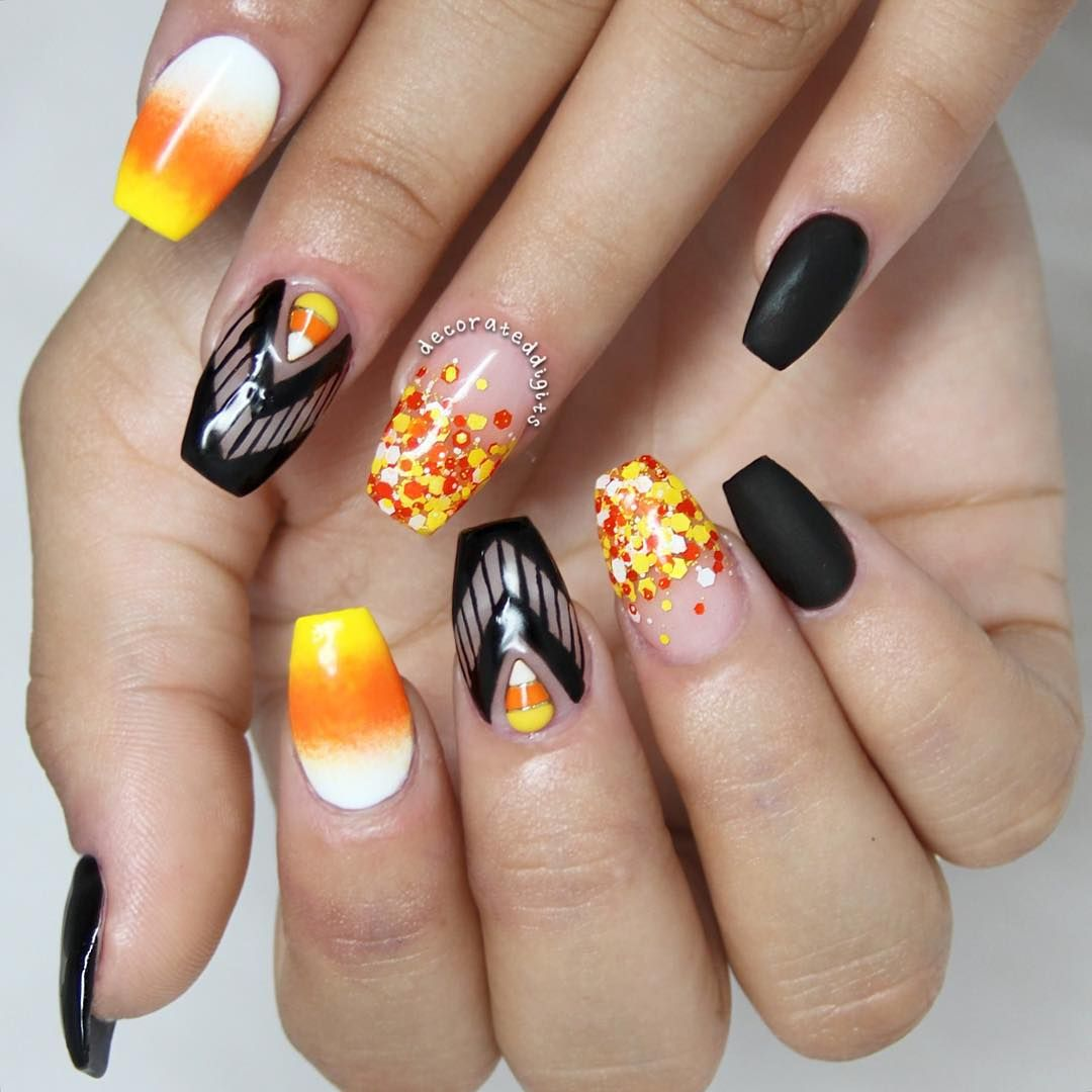 Candy Corn Inspired Nails | Candy corn nails, Nails ...