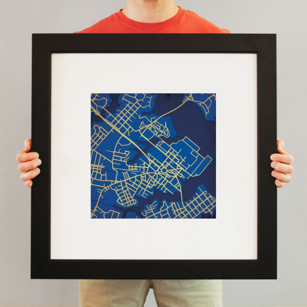 Map Art Print Including United States Naval Academy Campus Located - Maps united states naval base