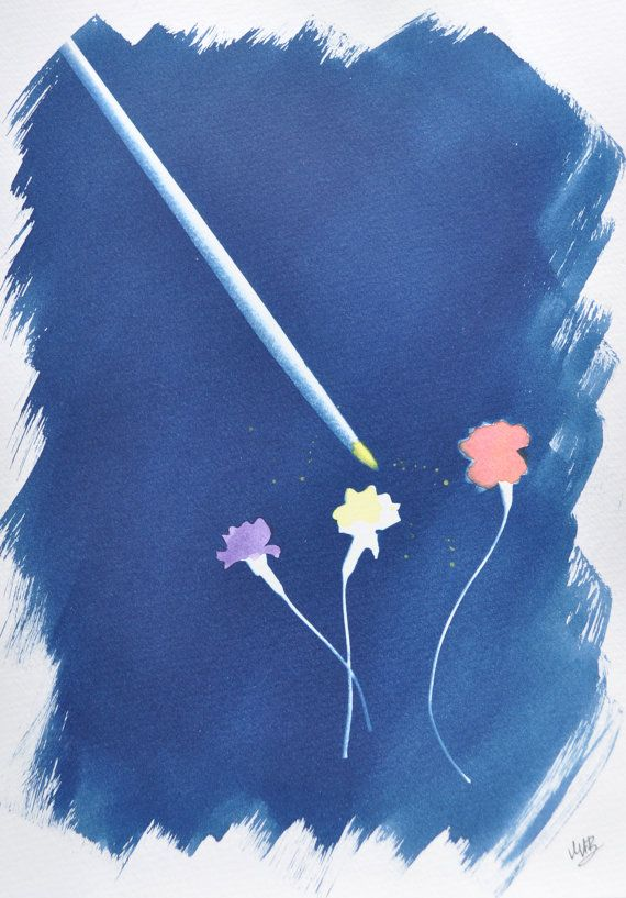 Hand Tinted Cyanotype Original Watercolor Art Cyanotype Flower