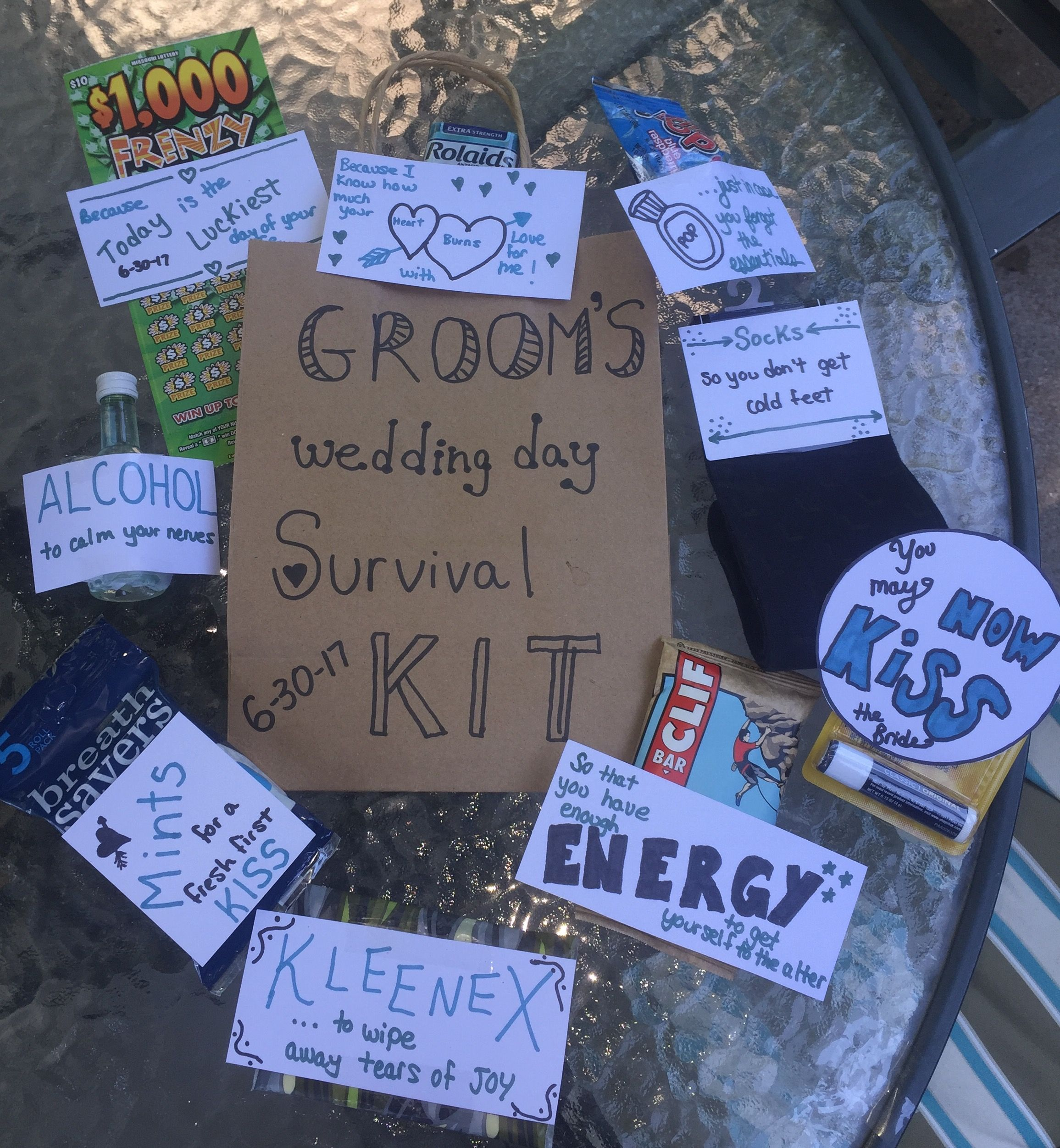 Groom's wedding day survival kit Wedding gifts for bride