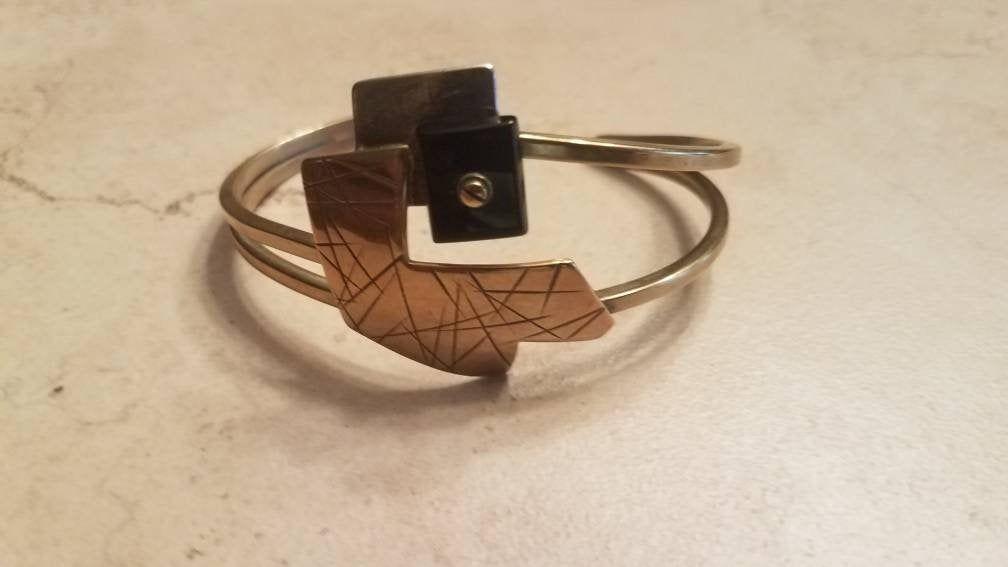 Vintage Sterling Silver Brass  Modernist Cuff Bracelet