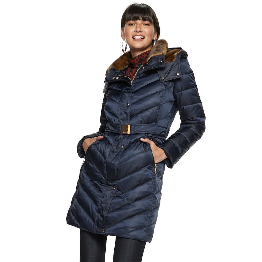 Women S Nine West Belted Faux Fur Quilted Puffer Coat Women Fashion Faux Fur