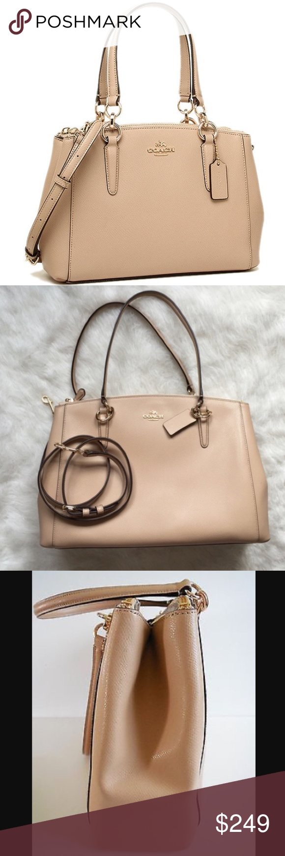f9bf235a33a Coach Mini Two way crossbody nude leather bag Super cute crossbody bag from  coach! Course grain leather in nude pink! This carryall bag can be worn two  ways ...