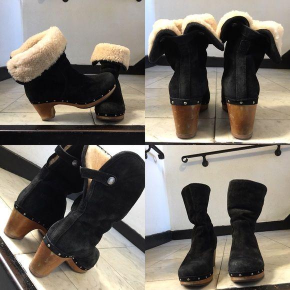 d330937e3fb Authentic UGG Lynnea Clog Boots Size 8 Black Suede exterior ...