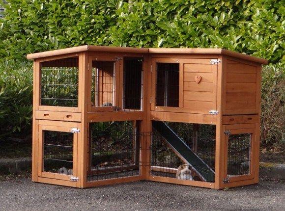 Moderner Winterfester Kaninchenstall Mit Zwei Etagen Kaninchenstall Kaninchenstall Selber Bauen Kaninchen