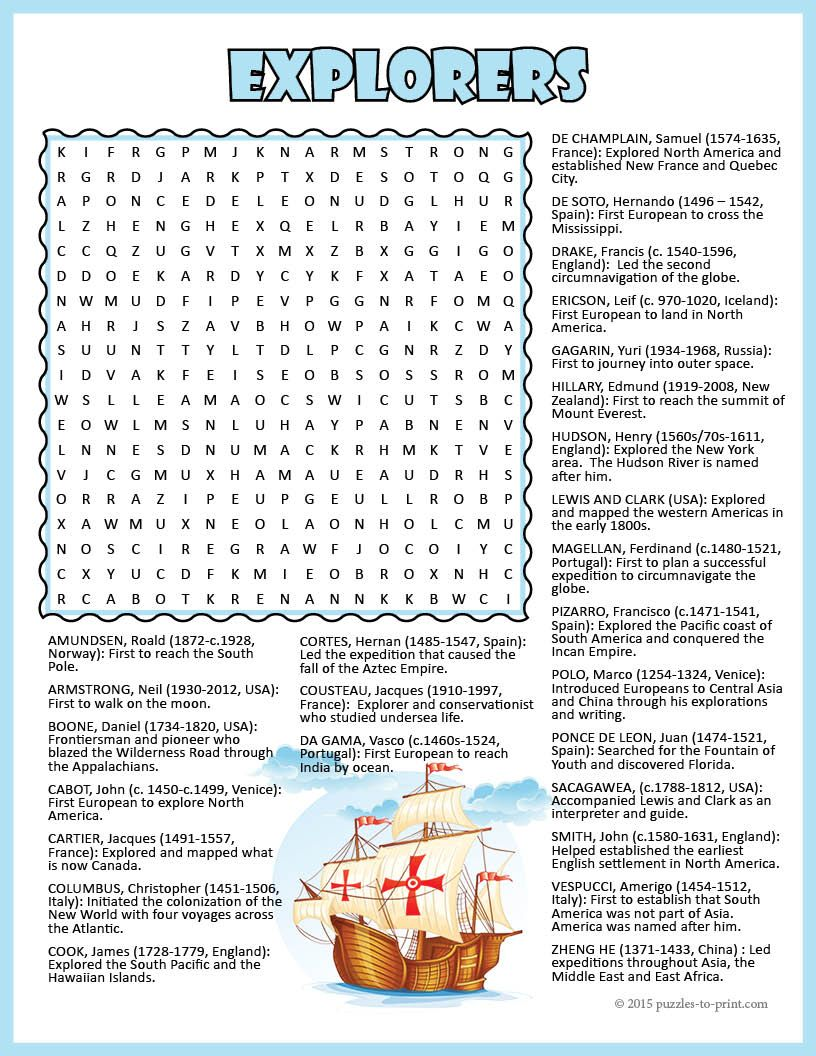 Get the kids excited about the history's greatest explorers with this  engaging word search puzzle. The…   Explorers activities [ 1056 x 816 Pixel ]