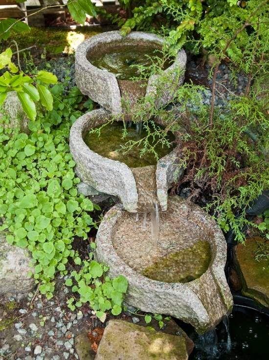 Cool Naturstein Brunnen terrassenf rmig auf Ebenen