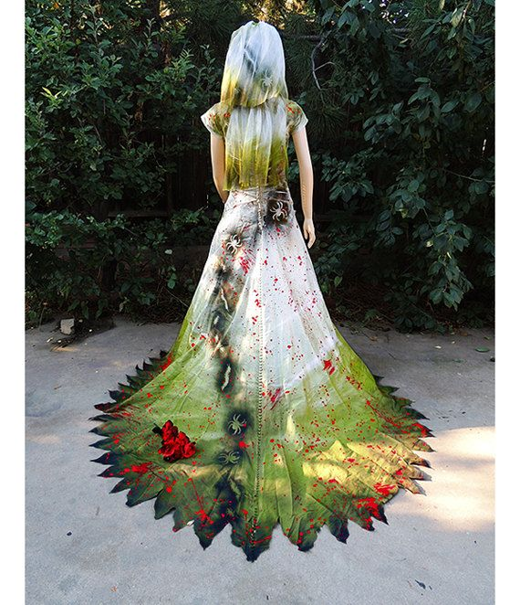 Couture Zombie Bride Encrusted With Insects, Blood, And
