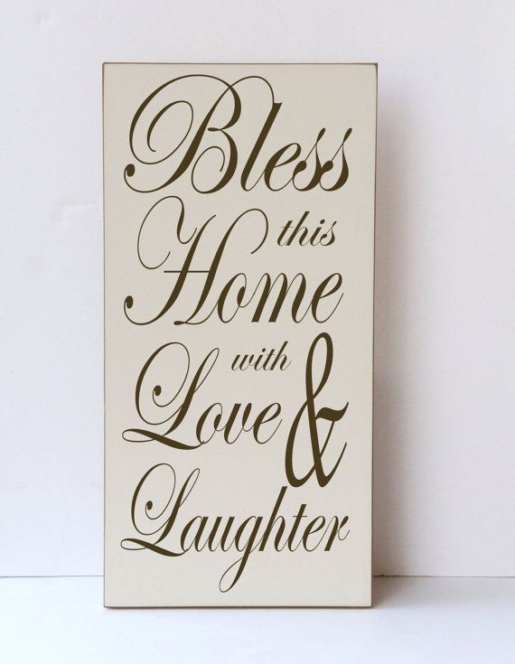 Bless This House, Love and Laughter, Wood Sign, Typography Art, Home ...