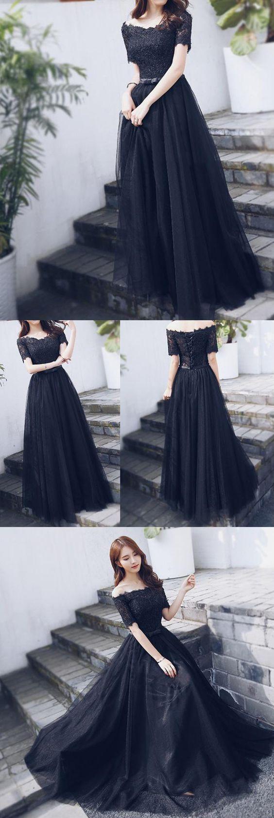 Off shoulder black lace fashion aline lace up back prom dress