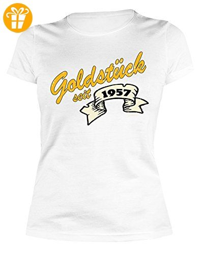 60 Geburtstag Damen Tshirt - Frauen 60 Jahre T-Shirt : Goldstück seit 1957  -- Geburtstagsshirt 60 Damenshirt Gr: S