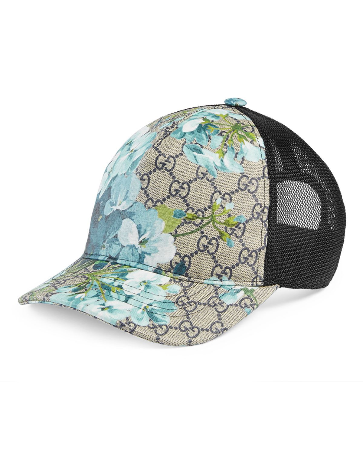 19e8933631c Gucci classic baseball cap in signature beige ebony GG supreme canvas with  blue blooms print. Made using an earth-conscious process. Mesh back.