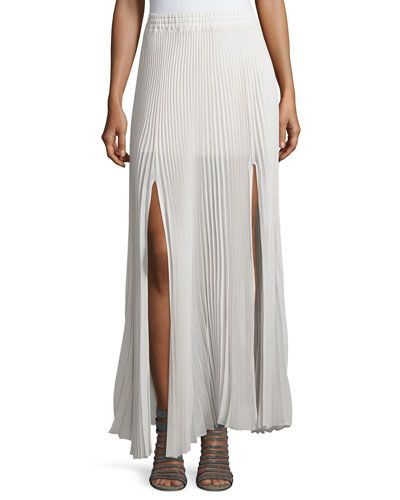 Pleated Semi-Sheer Layered Skirt W/Slits, Vanilla