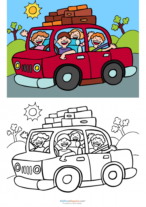 Match Up Coloring Pages Road Trip Kidspressmagazine Com Coloring Pages Family Cartoon Trip