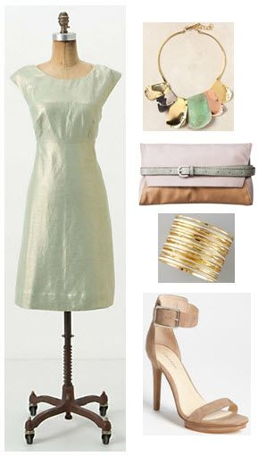 anthropologie mentha dress is the centerpiece of this outfit, complimented by anthro necklace, Target clutch, Amrita Singh bracelets and Calvin Klein sandals #modernvintagelove