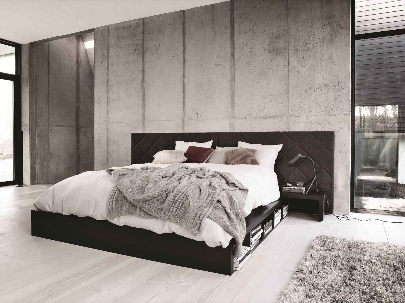 Oak Veneer Bedroom Furniture Boconcept Bed Felt And Black Stained Oak Veneer Sleeping