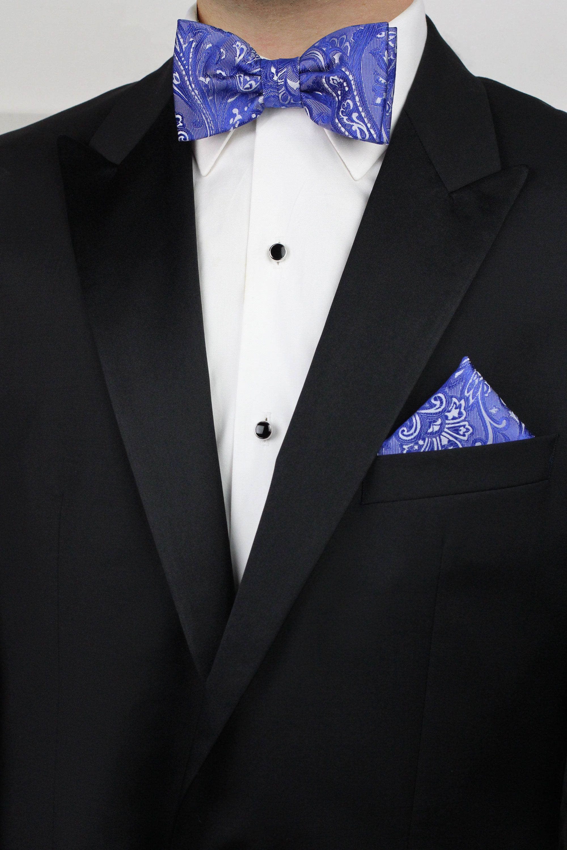 New Brand Q formal Men/'s Pre-tied Bow Tie /& Hankie light blue paisley wedding