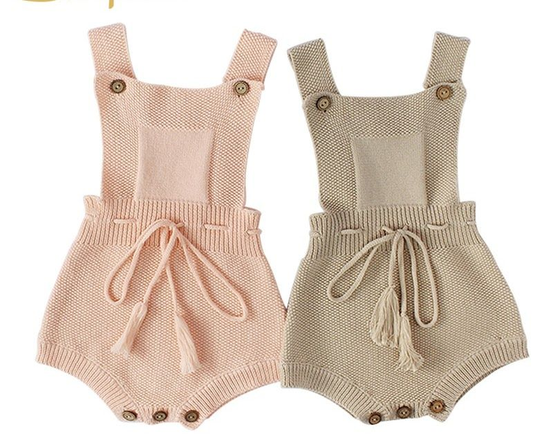 c550674733b Big Discount New Princess Baby Rompers with Tassels Knitted Toddler  Jumpsuit Sleeveless Solid Infant Overall Onesie