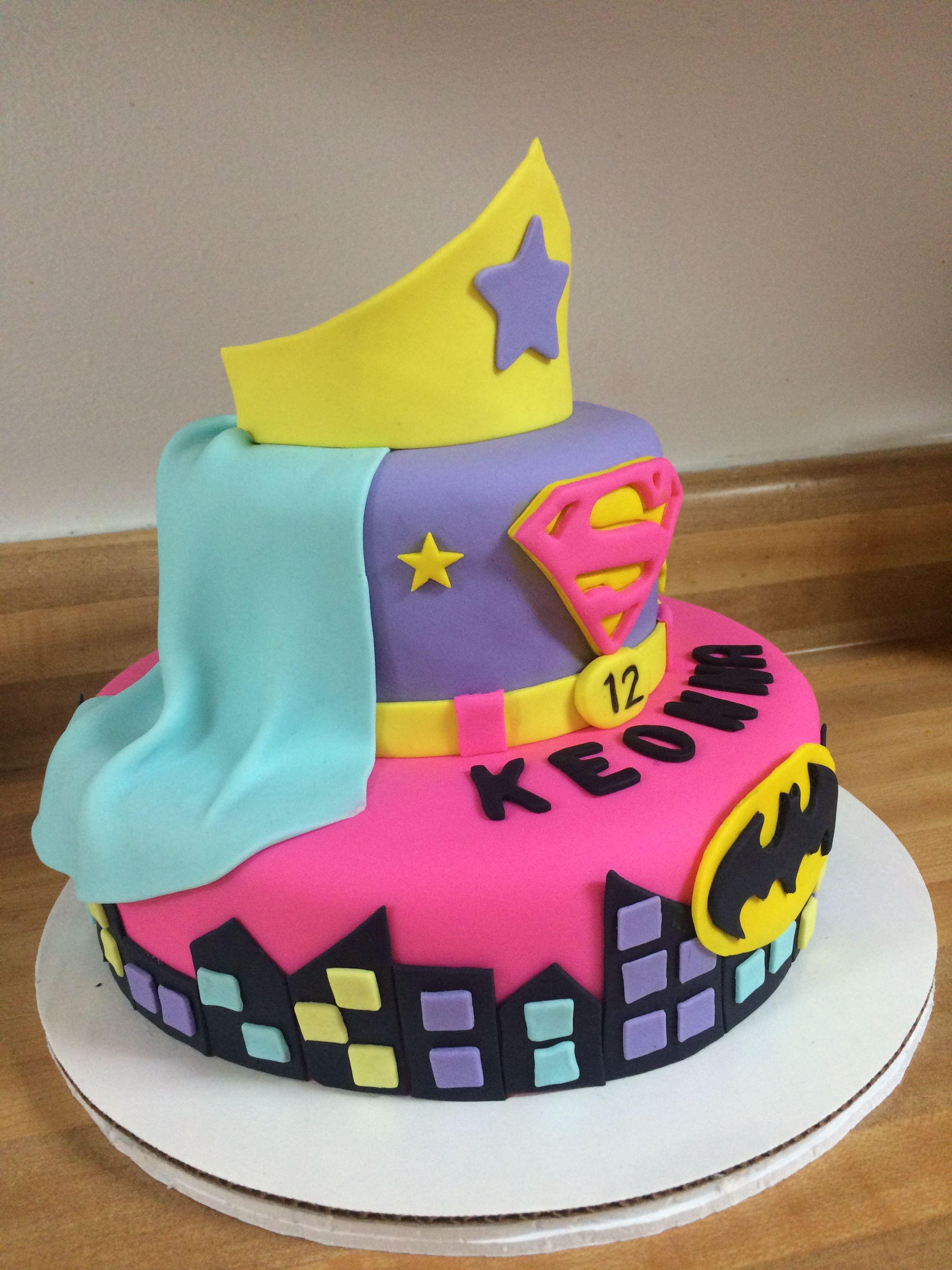 Super Girl Batgirl Cake My Cake Creations Superhero