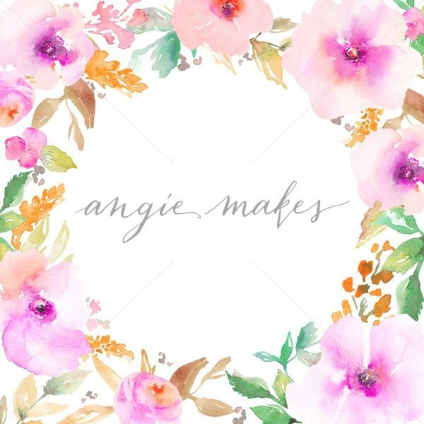 Round Watercolor Flower Frame Cute Painted