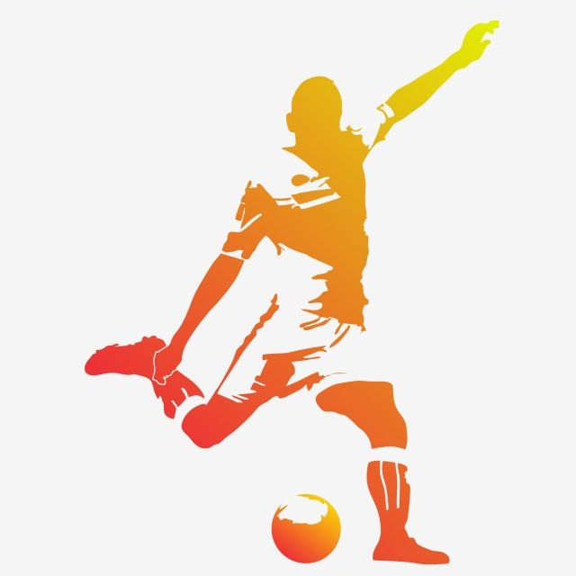 Vector Football Soccer Player Running Silhouette With Ball Soccer Silhouette Soccer Players Silhouette