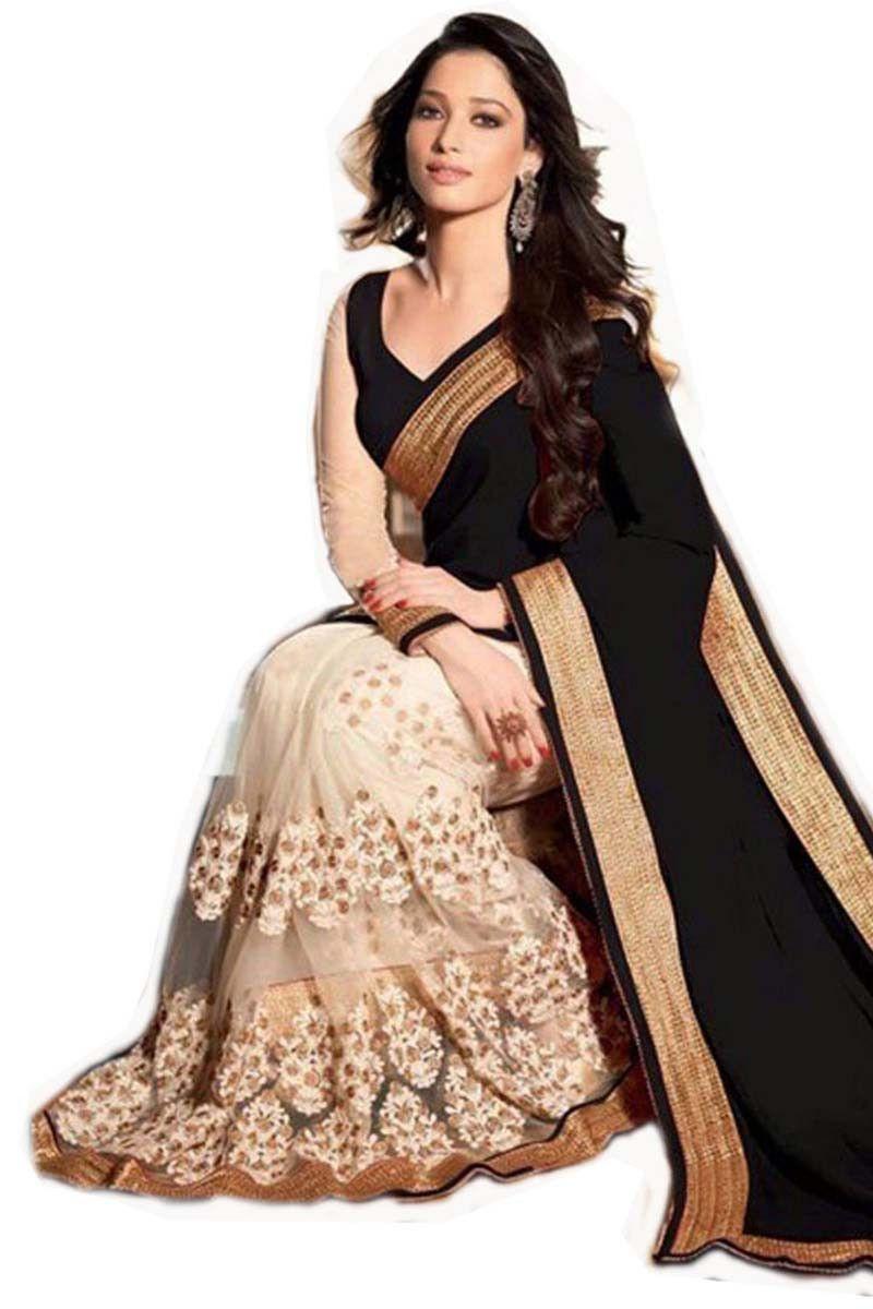 Black georgette net latest designer saree onlineshopping for