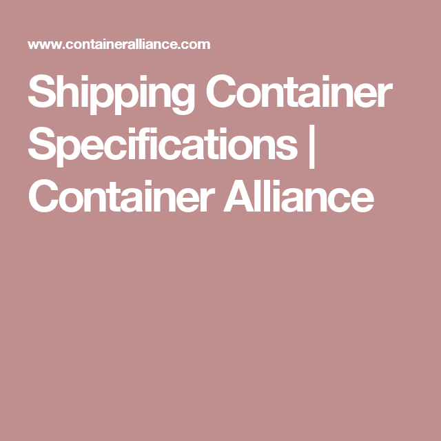 Shipping Container Specifications | Container Alliance