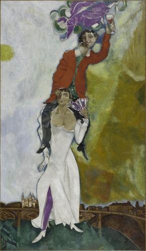 Double portrait artwork wine glass, Marc Chagall