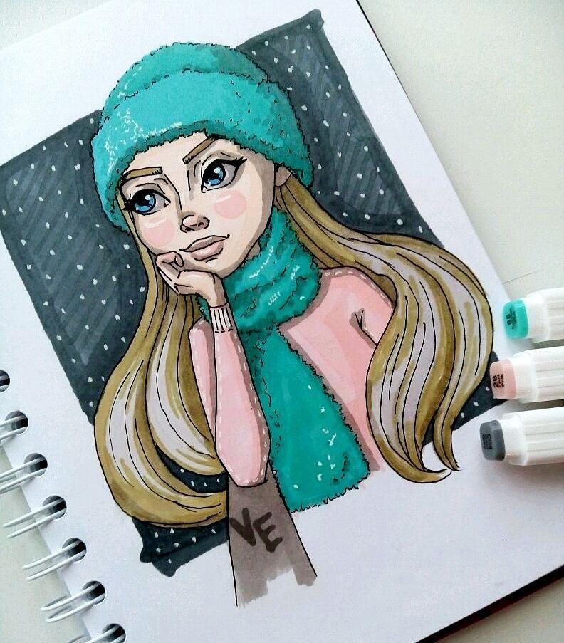 будет красивые зимние рисунки для скетчбука рамку