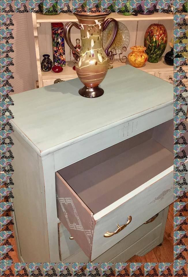 Vintage duck egg, Mason Dixon gray and Best Dang Wax in Black! Wendy stenciled the sides of the drawers and did a jaw dropping free-handed design on the front. Love this! #
