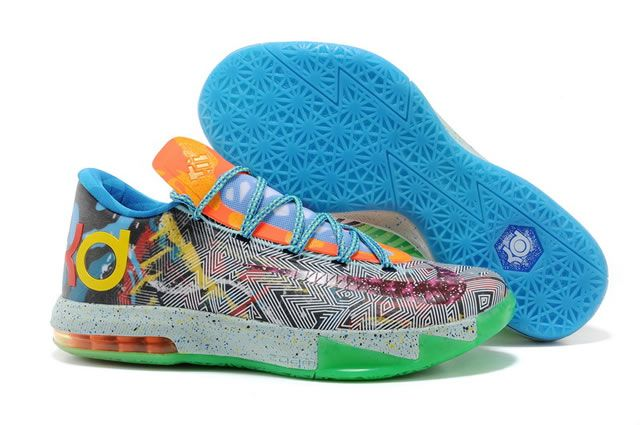 Nike Zoom Kevin Durant KD VI - WHAT THE KD Basketball Shoes Monocolor  Mixing Colors