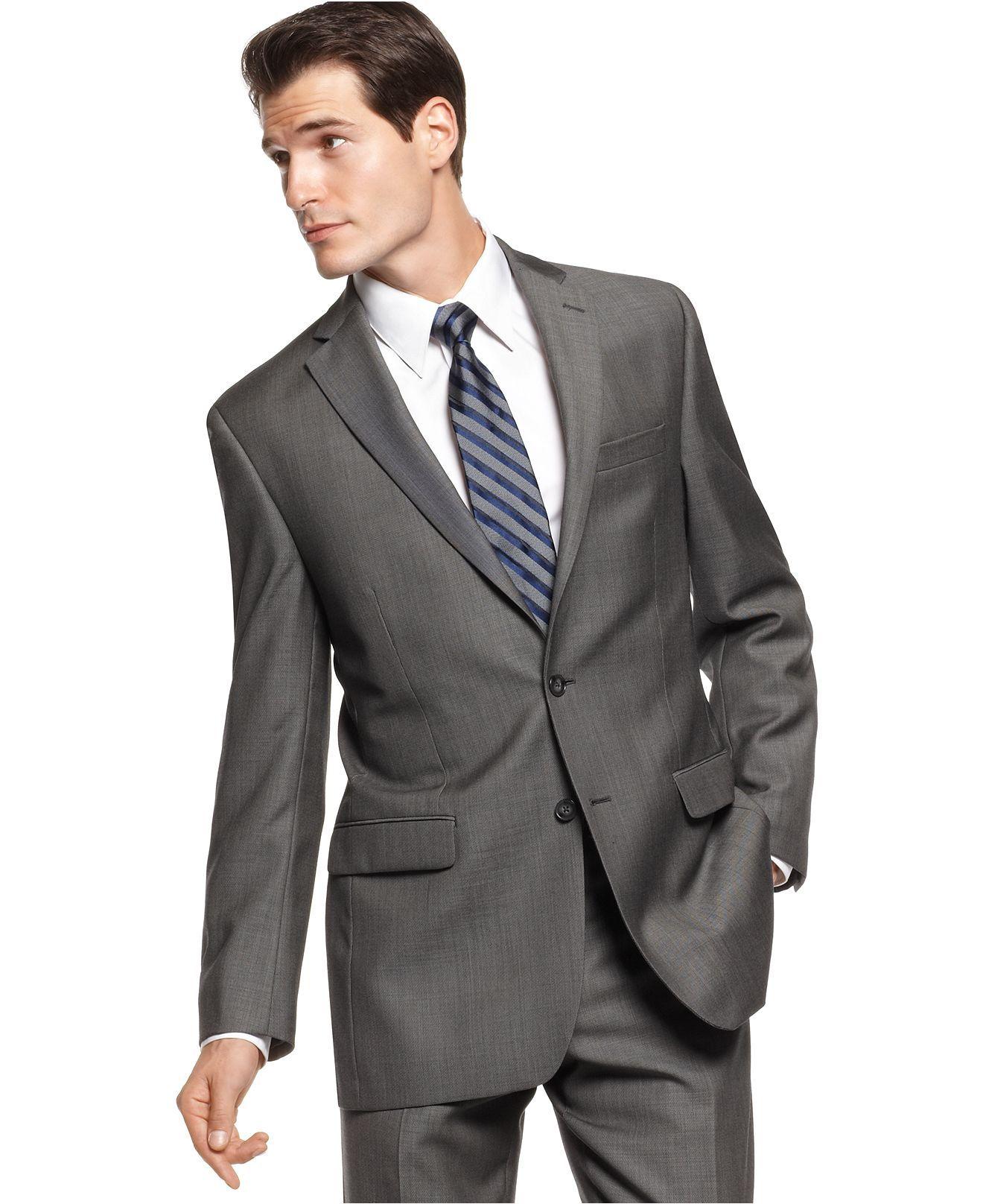 9fc89fa99c5f Calvin Klein Jacket, Charcoal Pindot Slim Fit Blazer - Mens Suits & Suit  Separates - Macy's