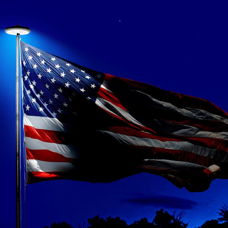 Solar Flag Pole Flagpole Light Byb 26 Led Flag Figurine Lighting
