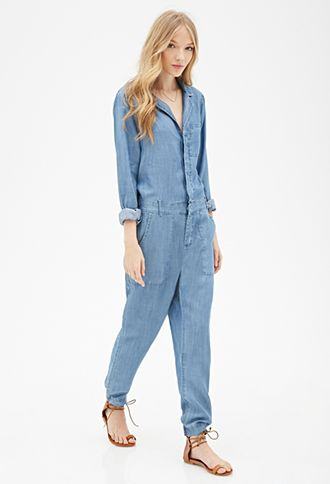 Collared Denim Jumpsuit | Forever 21 - 2055879054 | Jumpsuit ...