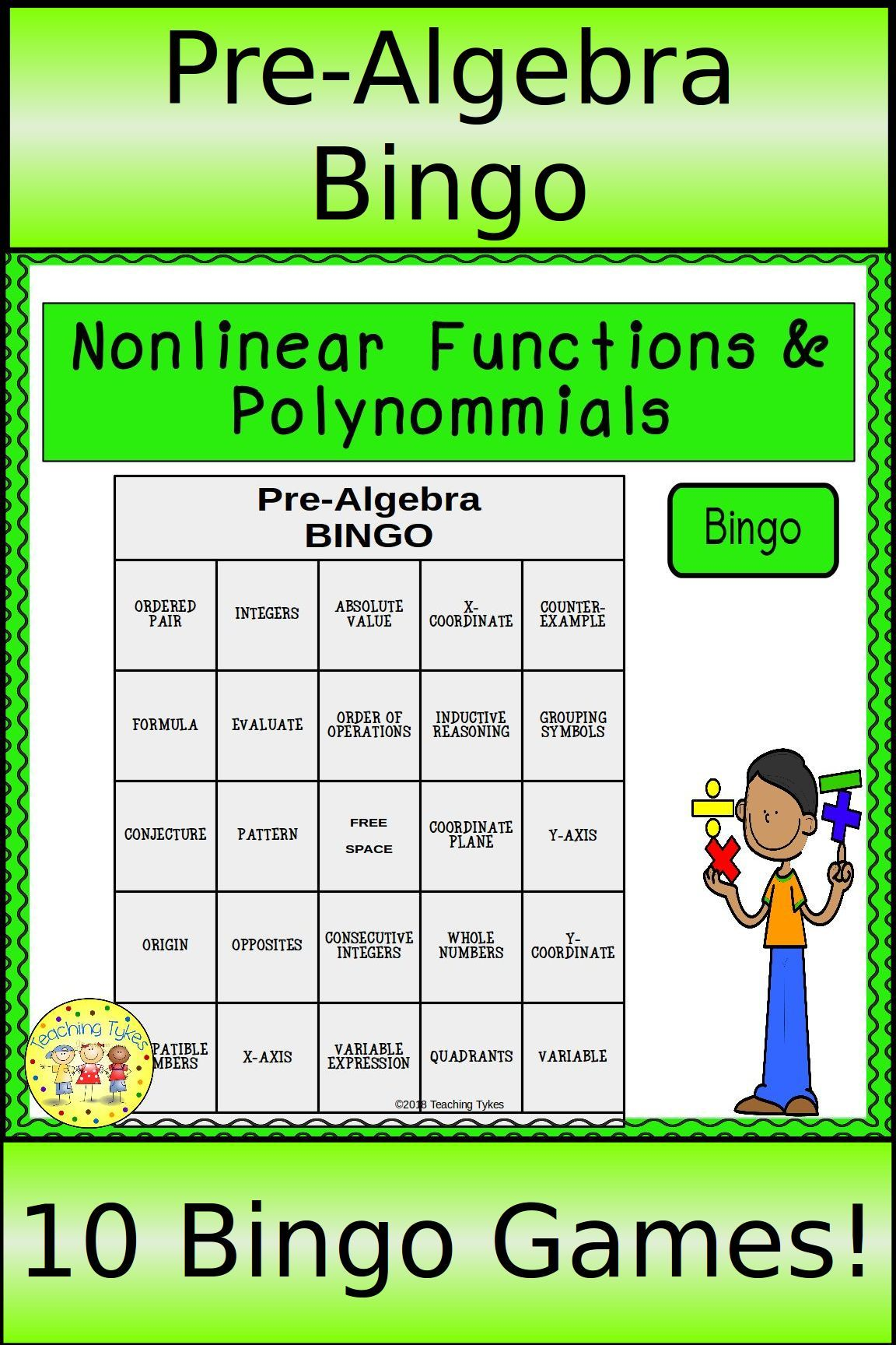 Pre Algebra Bingo Games