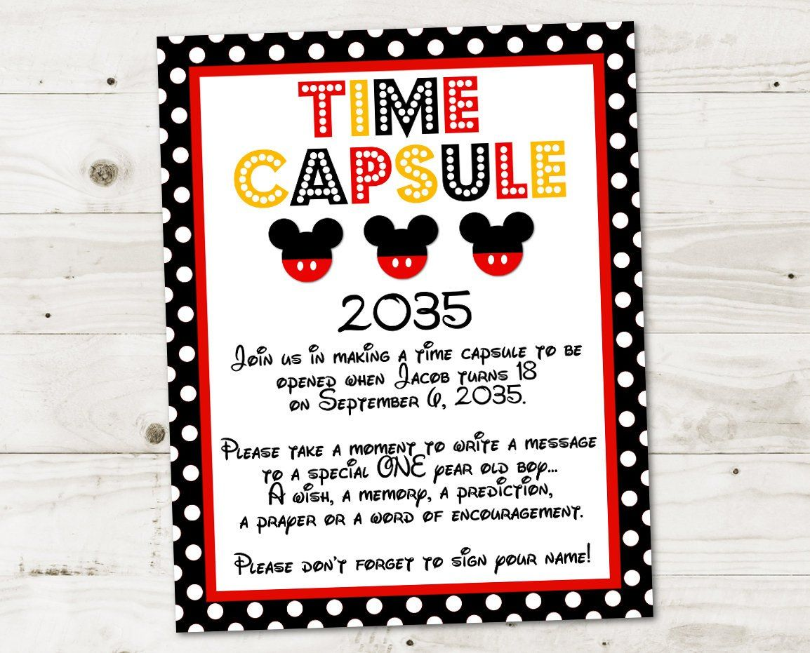 PERSONALIZED Classic Mouse Printable 8x10 Time Capsule Sign / Personalized with Name, Age and Year / Classic Mouse Collection / Item #3340 #mickeymousebirthdaypartyideas1st