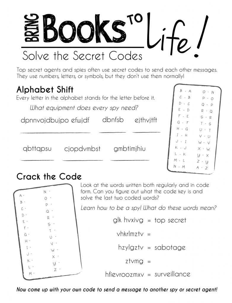 Free printable worksheetsKeep the kids busy during summer break – Secret Code Worksheets