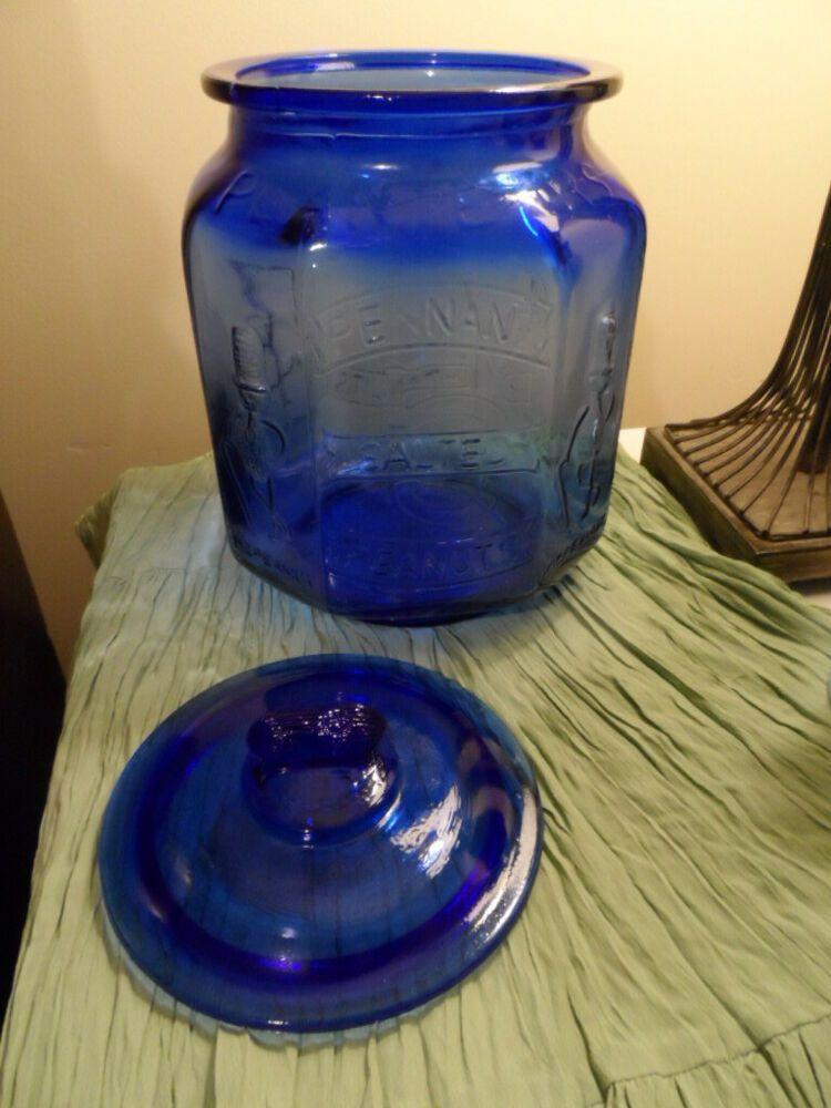 Vintage Mr Peanut Planters Peanuts Cobalt Blue Glass Cookie Jar Huge Over Sized Planterspeanuts Glass Cookie Jars Planters Peanuts Vintage Dishware