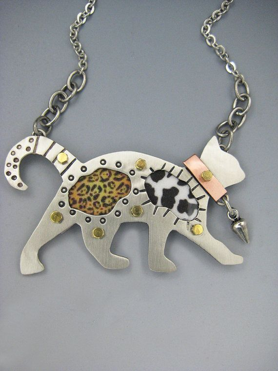 Cat Pin Cat Necklace Cat Jewelry Calico Cat Pin by riverpathstudio