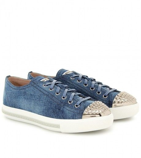 9e463bb49ffd MIU MIU Denim Sneakers - Lyst