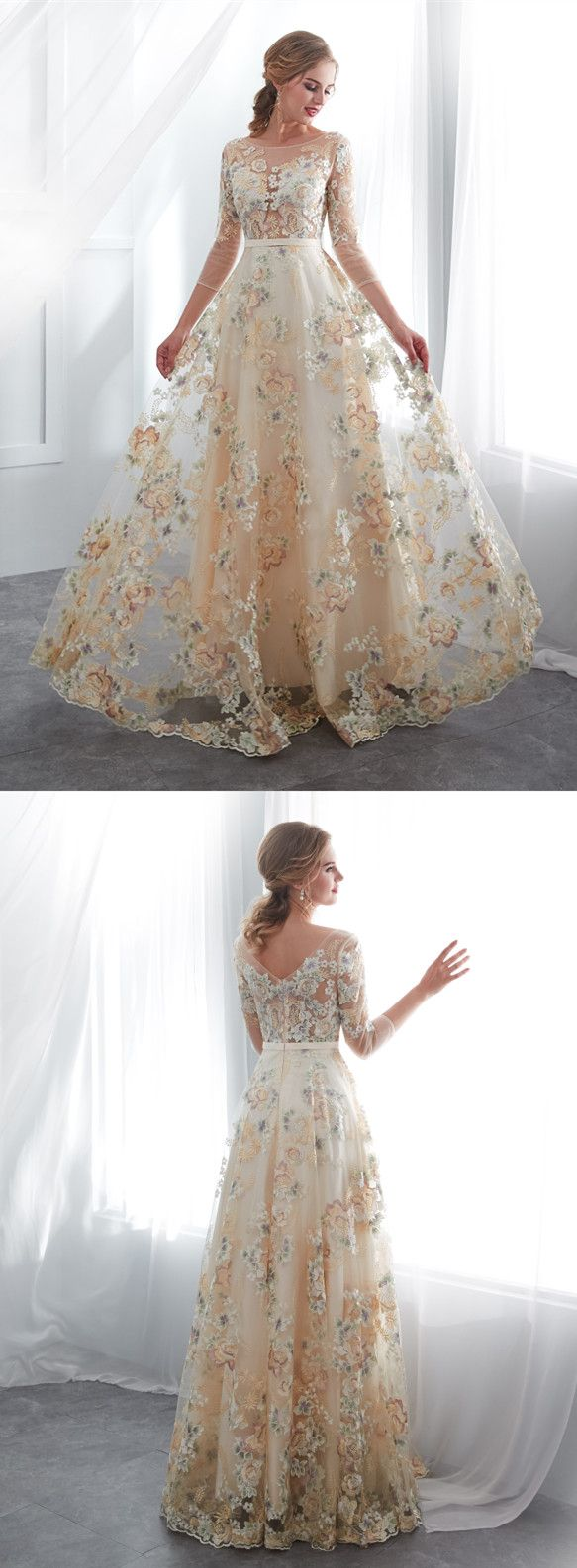 Classic champagne long sleeve lace long wedding dress k hoco