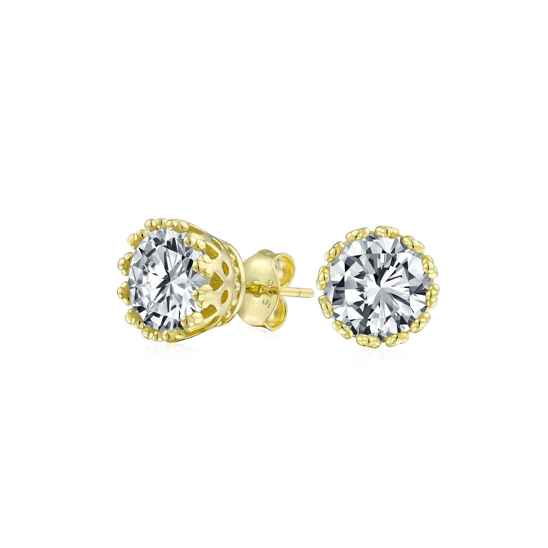 Heart Cut White Cubic Zirconia Crown Heart Stud Earrings in 14K Gold Over Sterling Silver