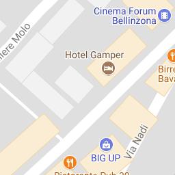 Bellinzona map surrounding Hotel on Ticinoch Bellinzona