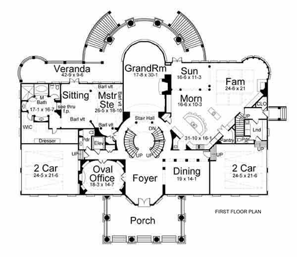 First Floor Plan Of Colonial Greek Revival House 98264