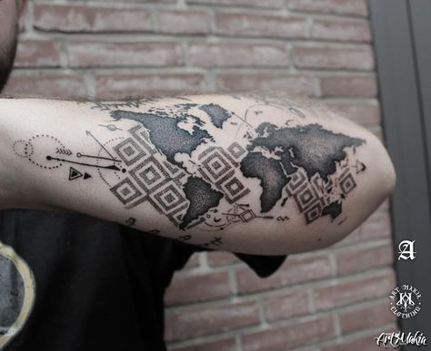 Dotwork tattoo world map tattoo gumiabroncs Image collections